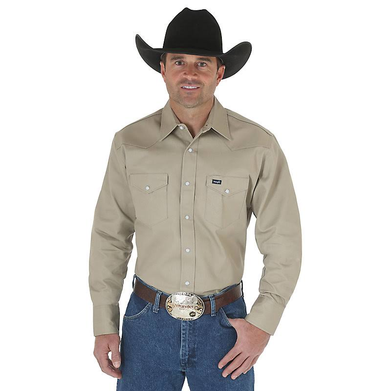 Wrangler Men's 35165 Cowboy Cut Western Long Sleeve Shirt - Khaki, Regular
