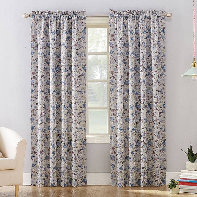 Sun Zero Isabella Floral Print Room Darkening Rod Pocket Curtain Panel, Blue