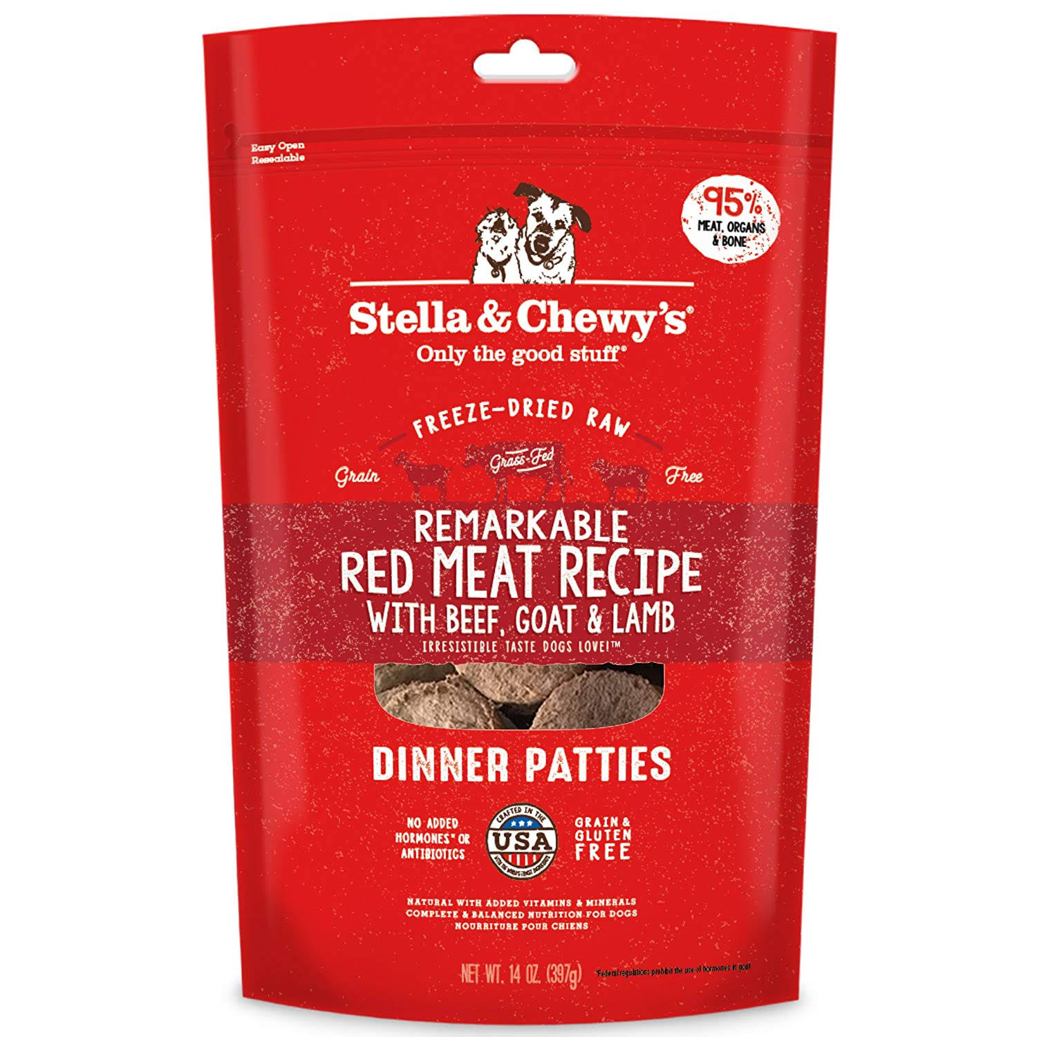 Stella & Chewy's Red Meat Dinner Patties Raw Freeze-Dried Dog Food 14oz