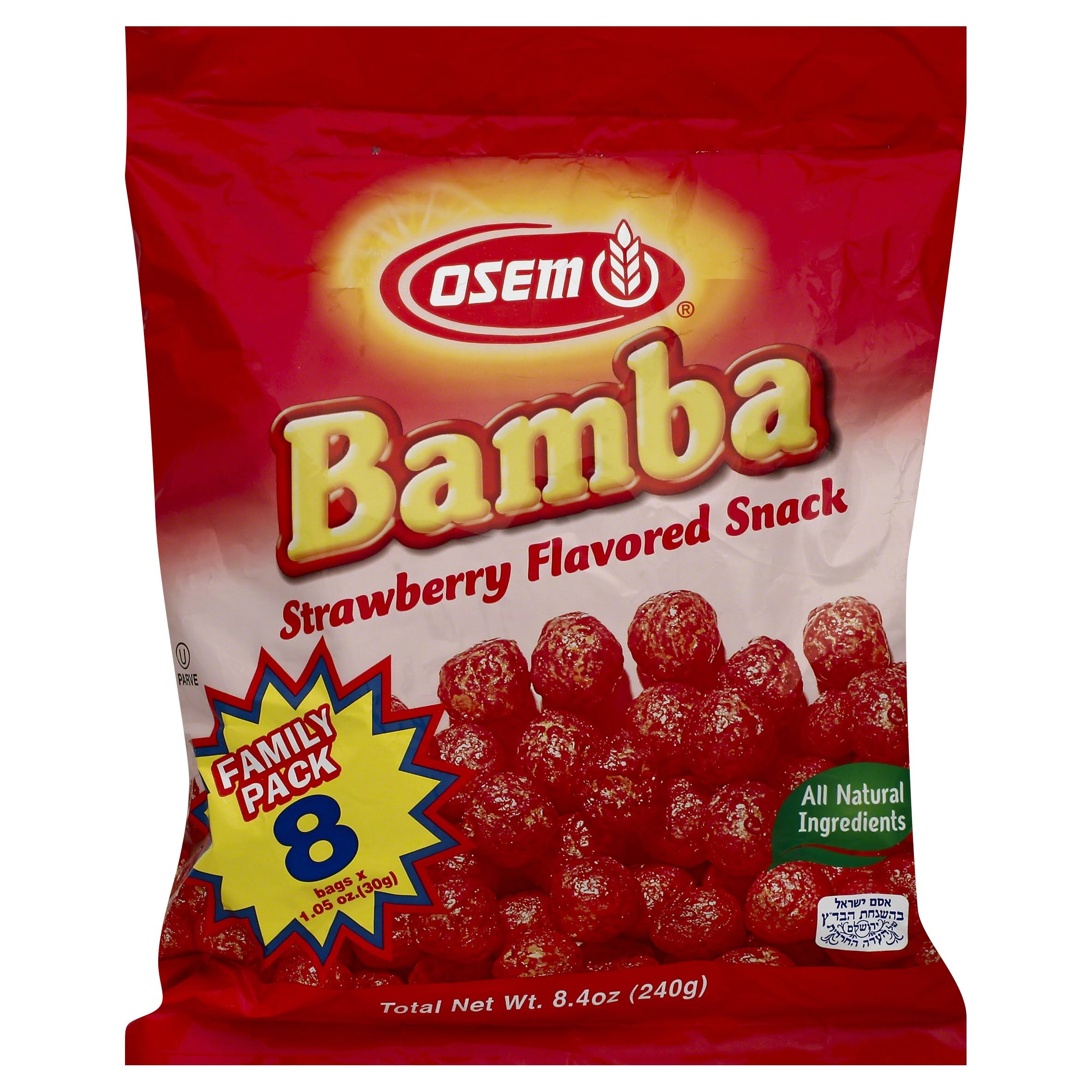 Osem Bamba, Strawberry Flavored Snack, Family Pack - 8 pack, 1.05 oz bags