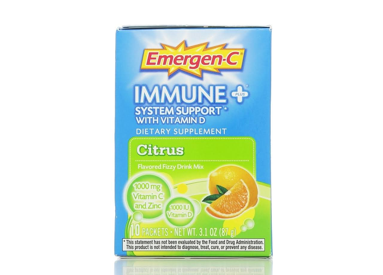 Emergen-C Immune + System Support & Vitamin D Dietary Supplement - Citrus, x10