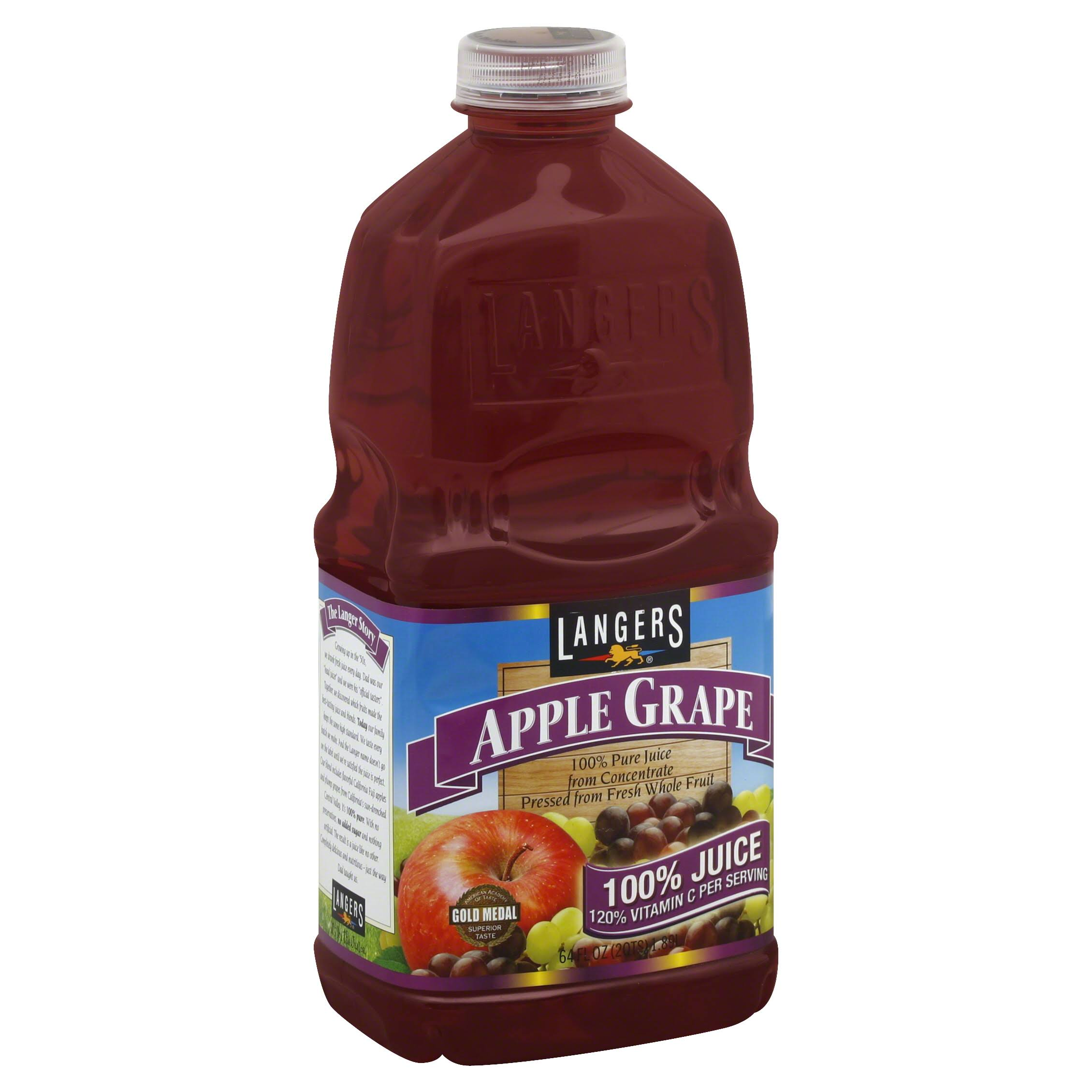 Langers 100% Fruit Juice - Apple Grape With Vitamin C, 64oz