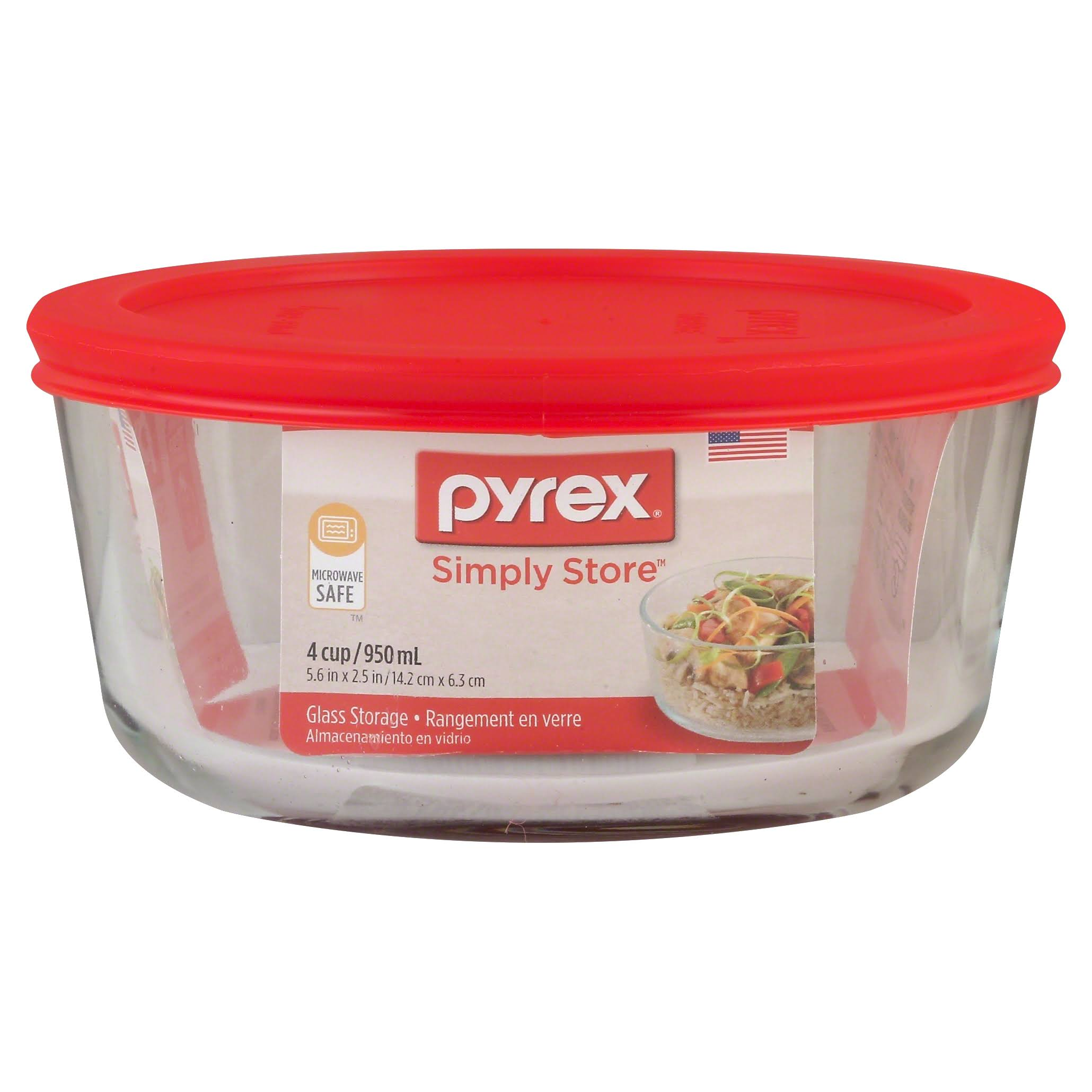 Pyrex Simply Round Glass Food Storage Dish - 4 Cup Capacity, with Lid