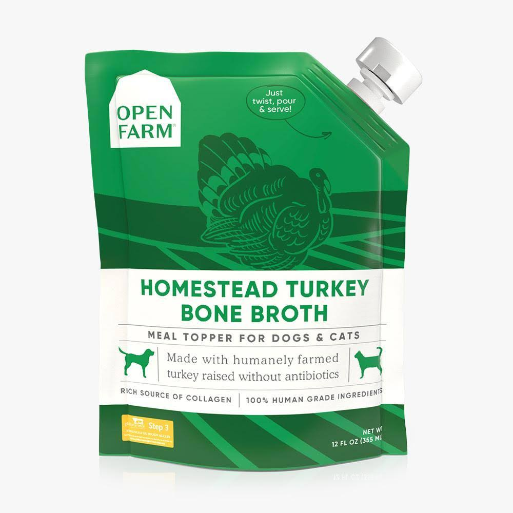 Open Farm Turkey Bone Broth for Dogs & Cats 12-oz