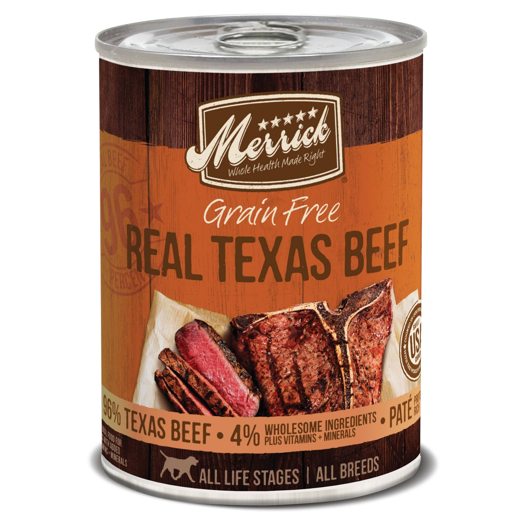 Merrick Grain Free 96% Real Texas Beef Canned Dog Food 12.7 oz