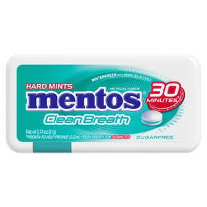 Mentos Clean Breath Hard Mints, Sugarfree, Wintergreen - 0.74 oz