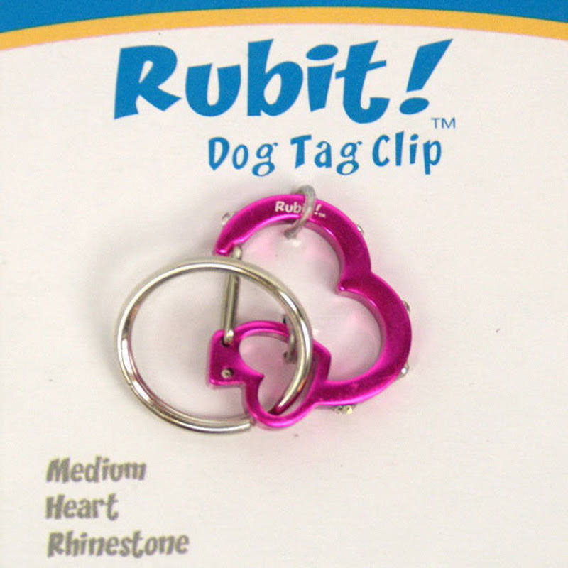 "Rubit The Easy Dog Tag Rhinestone Heart Switch Clip - Small, 0.85"", Pink"