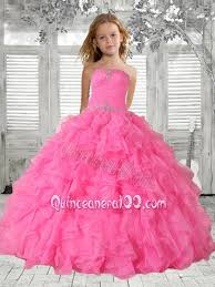 beading rose pink little pageant dress with ruffles