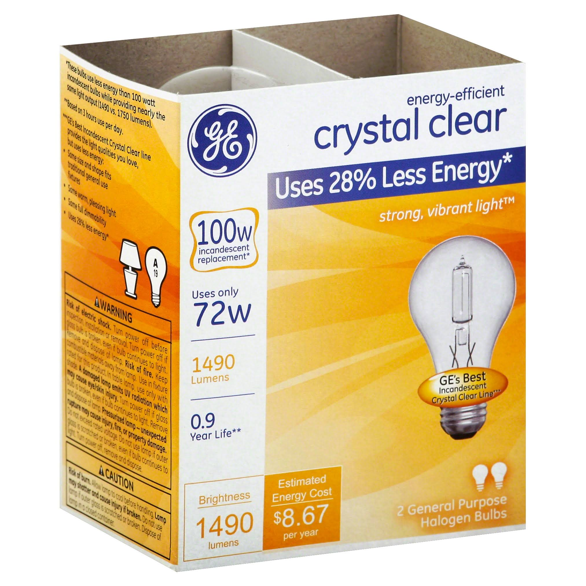GE Energy Efficient Crystal Clear 72 Watt General Purpose Halogen Bulb