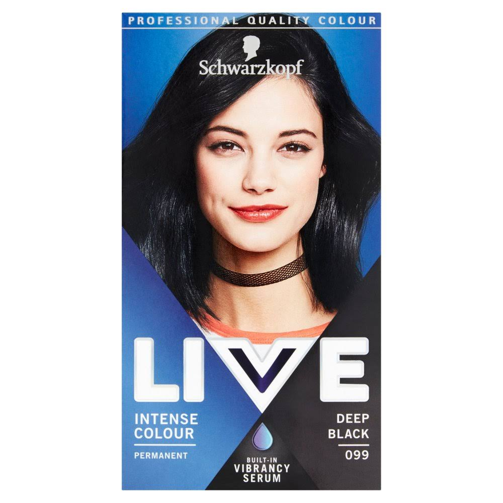 Schwarzkopf Live Intense Colour Permanent Hair Dye - 099 Deep Black
