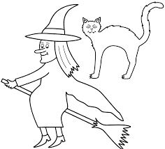 Haunted Halloween Crossword by Witch On Broom With Black Cat Coloring Page Halloween