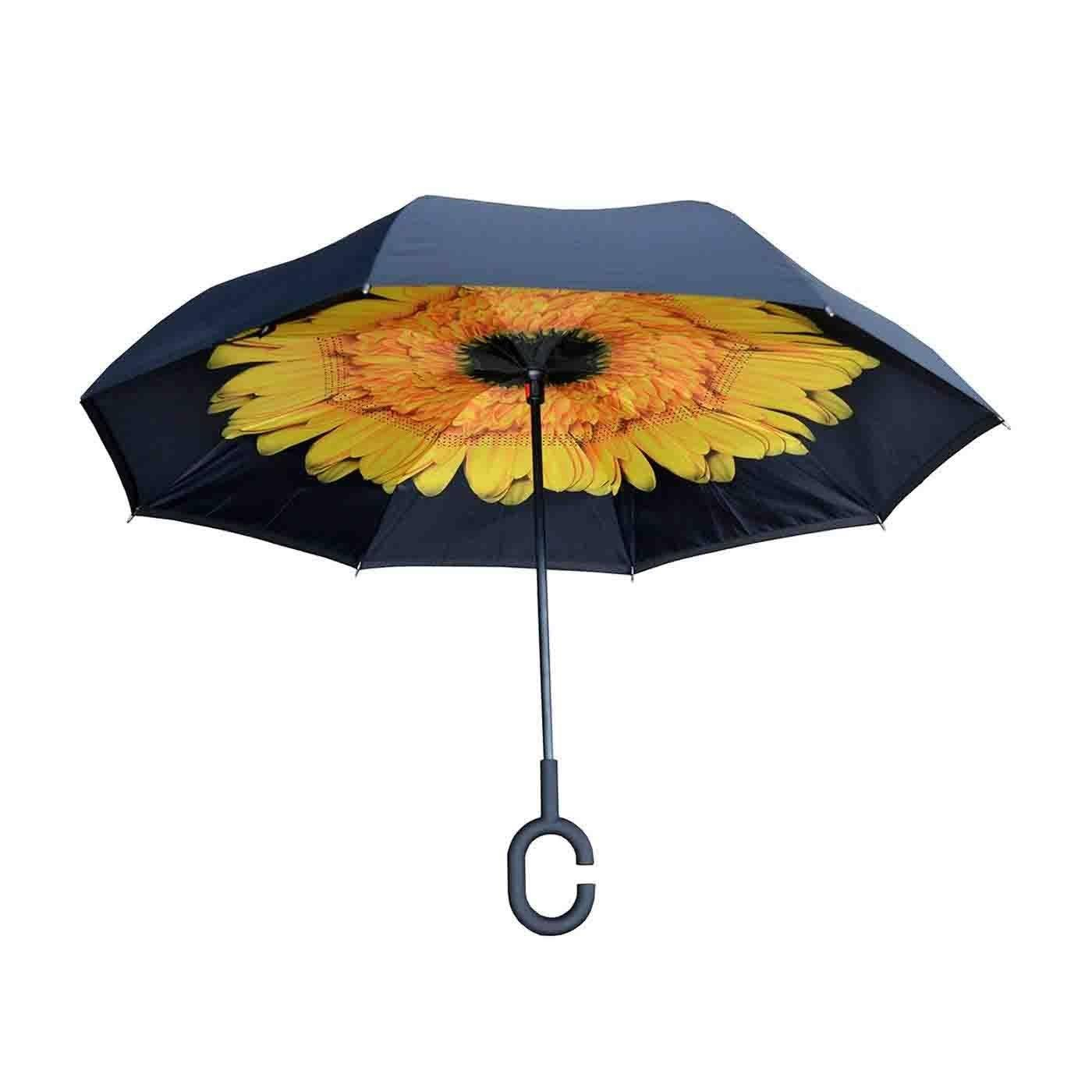 Topsy Turvy Black - Black & Yellow Sunflower Inverted Umbrella