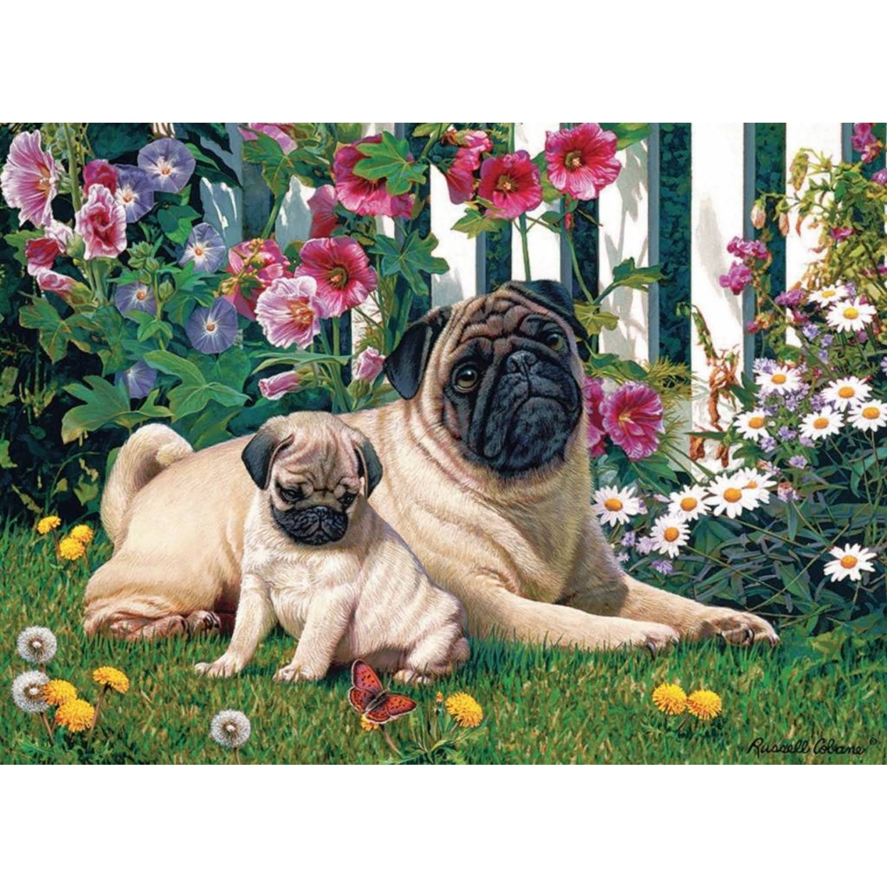 Cobble Hill Pug Family 1000 Piece Puzzle