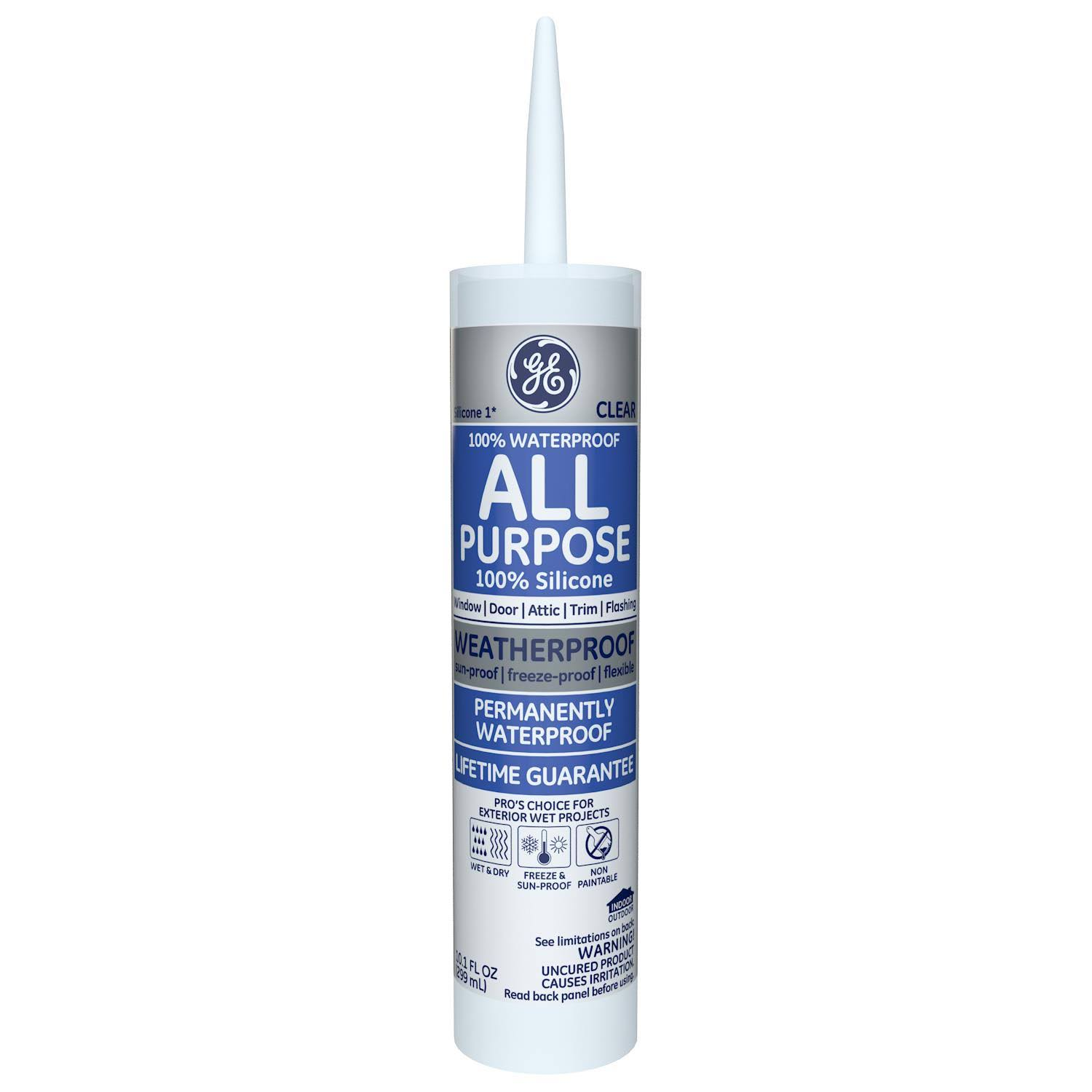 GE All Purpose Silicone Rubber Sealant - 10.1oz, Clear