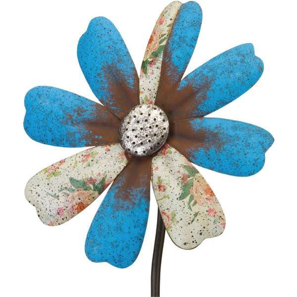 Regal Art & Gift 12294 - Blue Flower Wind Spinner Garden Stake Lawn de