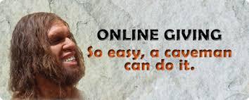 """banner online giving con scritto """"così facile che anche un cavernicolo ce la può fare"""""""