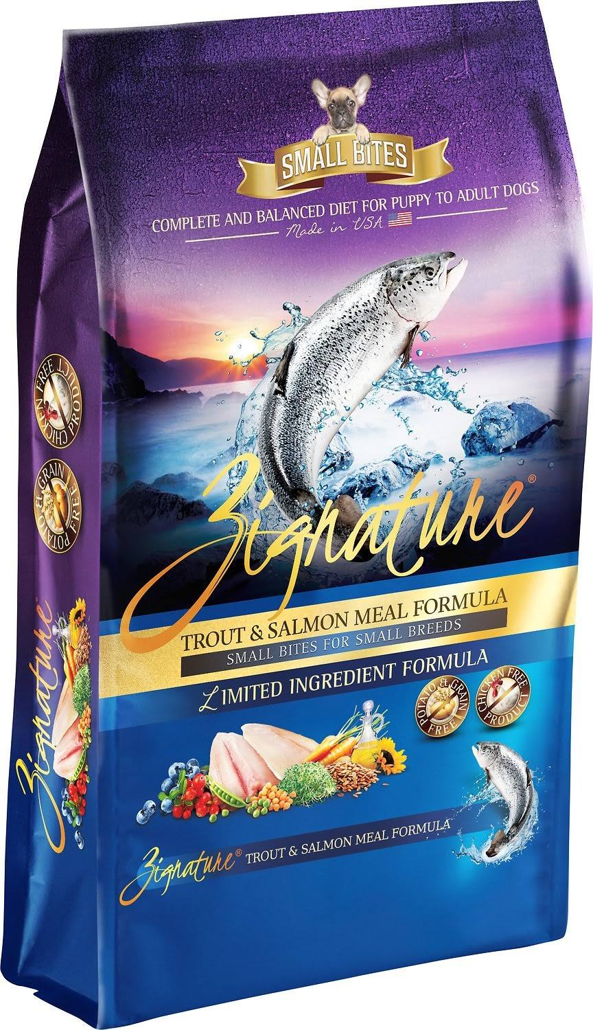 Zignature Small Bites Grain Free Trout & Salmon Formula Dry Dog Food - 13.5-lb