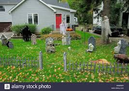 Halloween Cemetery Fence by Halloween Cemetery Display In Front Yard Stock Photo Royalty Free