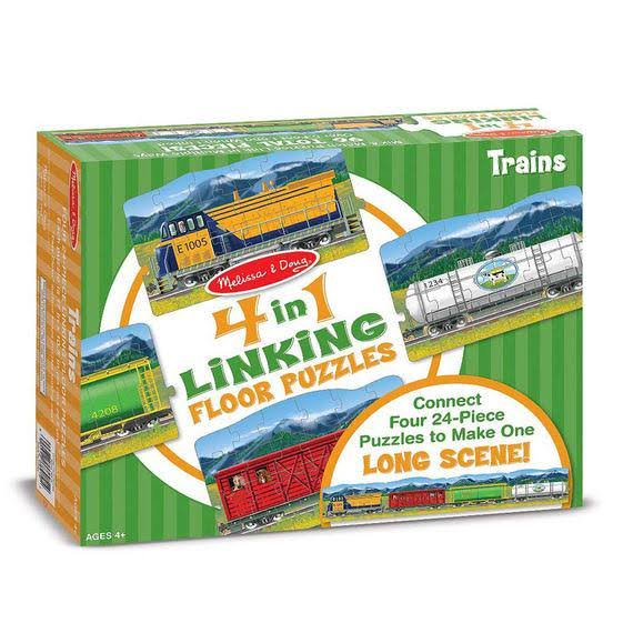 Melissa & Doug - Trains Linking Floor Puzzle (96 Pc)