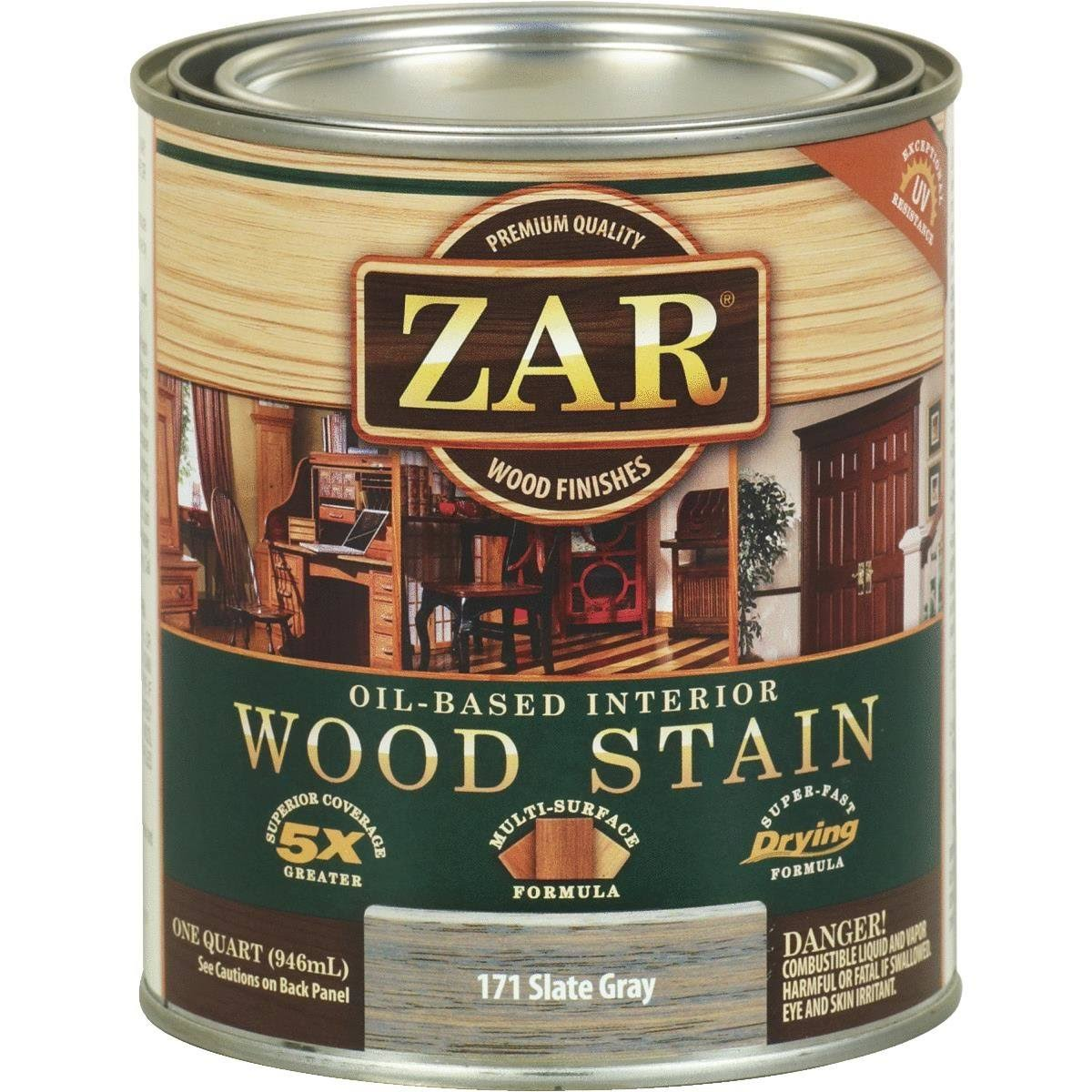 Zar Oil-based Interior Wood Stain - 1171 Slate Gray, 1qt