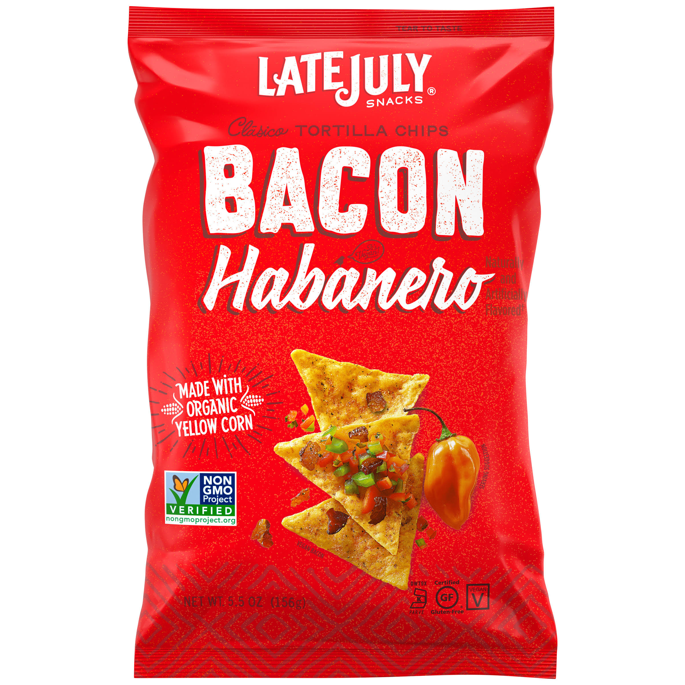 Late July Tortilla Chips, Clasico, Bacon Habanero - 5.5 oz