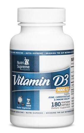 Nutri-Supreme Research Vitamin D3 3000 IU - 180 Vegetarian Softgels