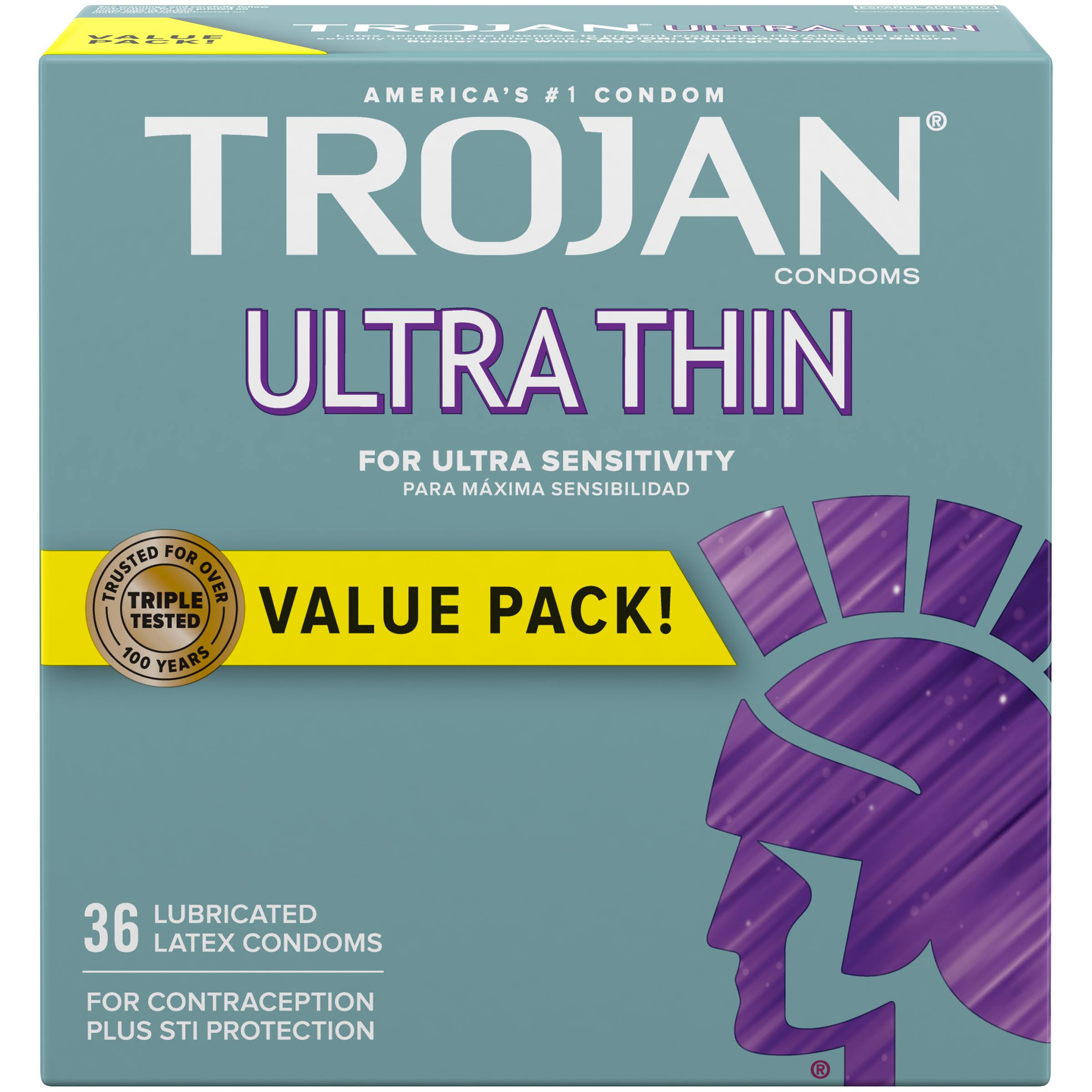 Trojan Ultra Thin Premium Latex Condoms - 36 ct