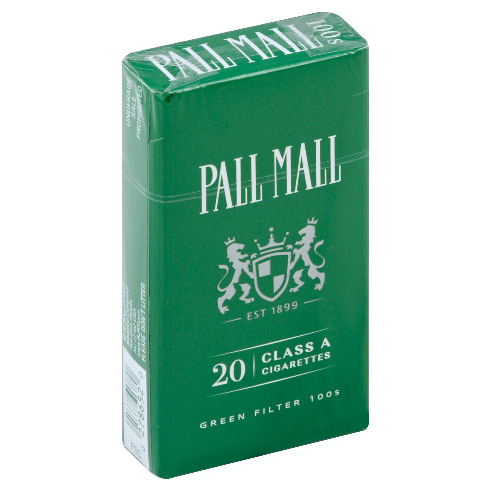 Pall Mall Cigarettes, Menthol, Green Filter 100s - 20 cigarettes