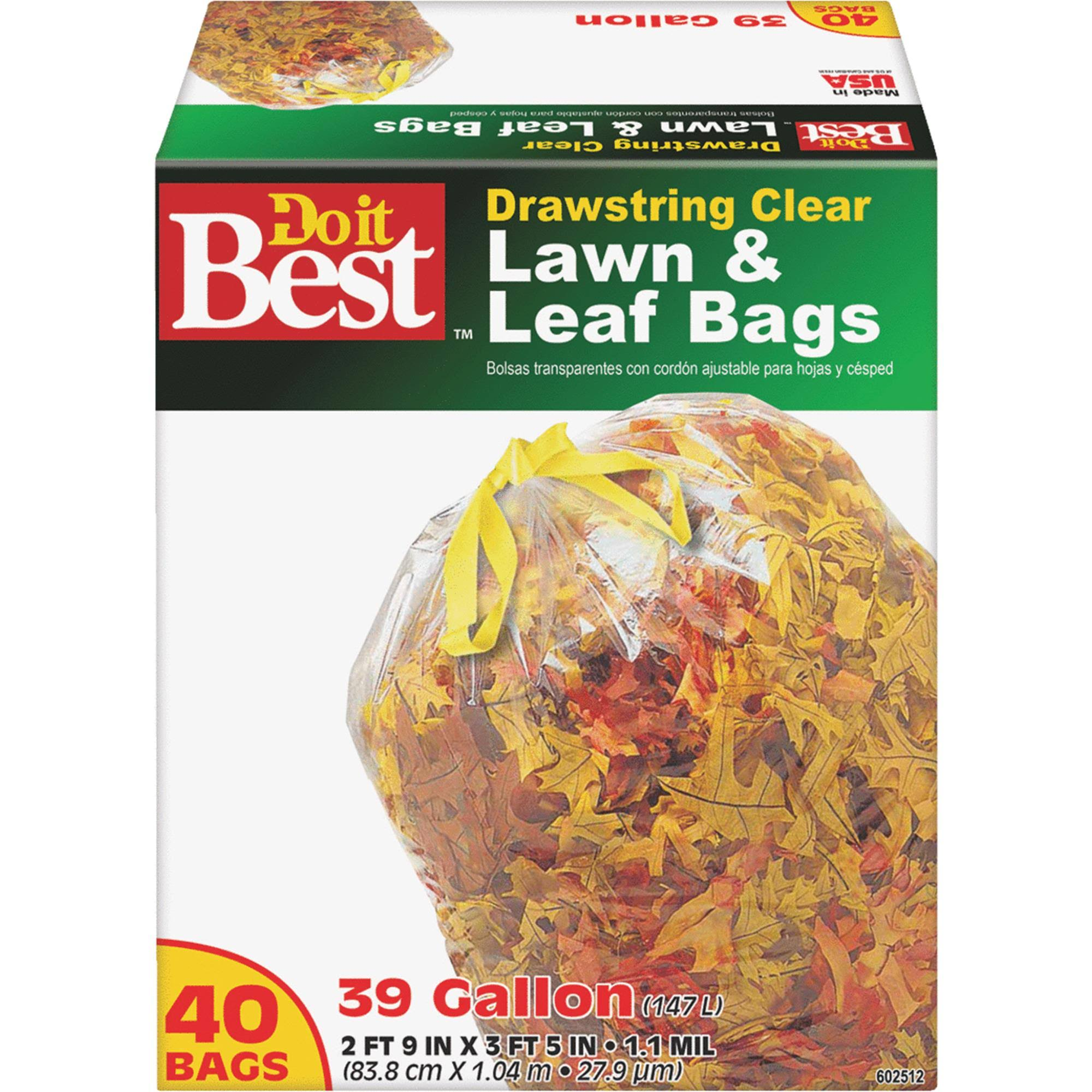 Do it Best 602512 Drawstring Lawn and Leaf Bag - 39 Gallon, 40 Bags