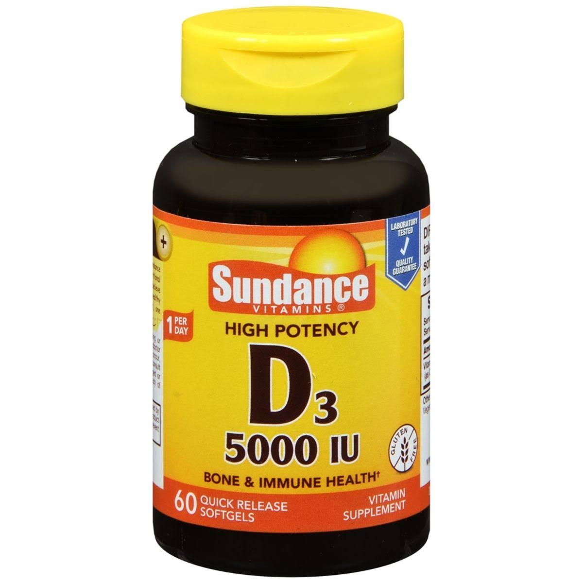 Sundance Vitamins High Potency Vitamin D3 5000 IU - 60ct