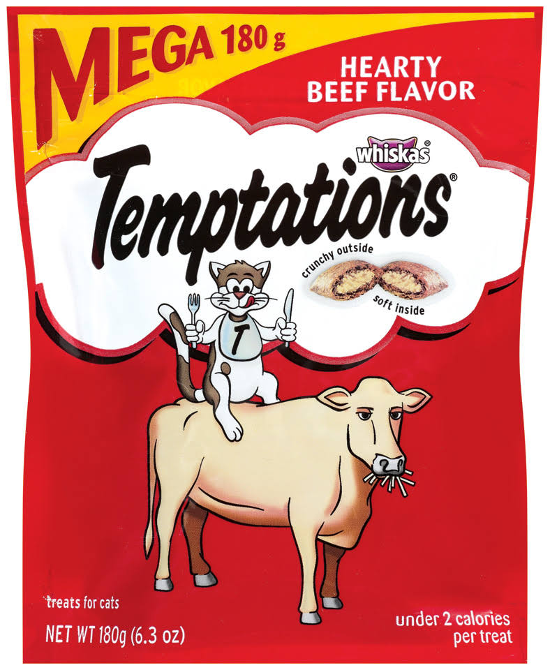 Whiskas Temptations Hearty Treats for Cats - Beef Flavor, 6.3oz