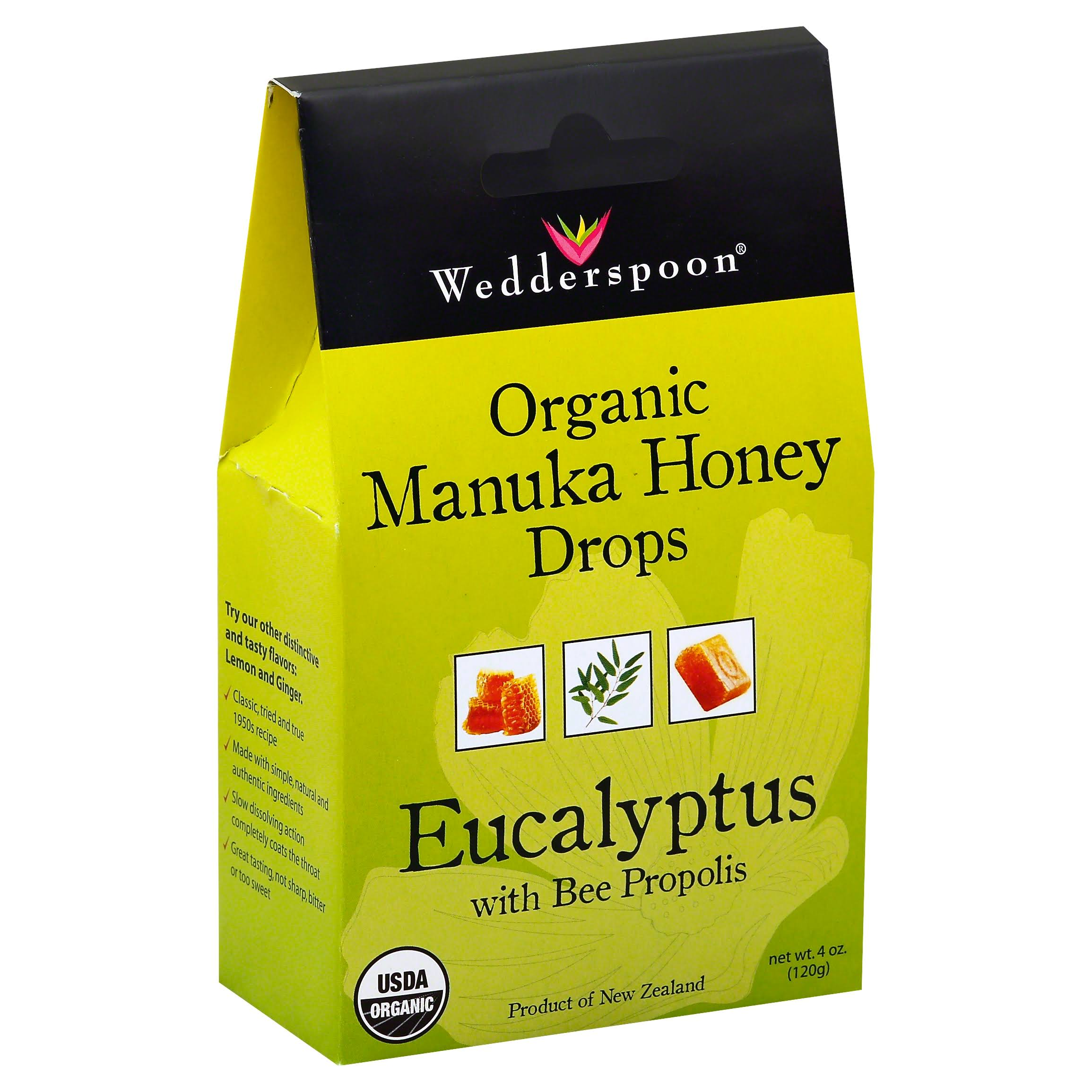 Wedderspoon Organic Manuka Honey Drops - Eucalyptus with Bee Propolis