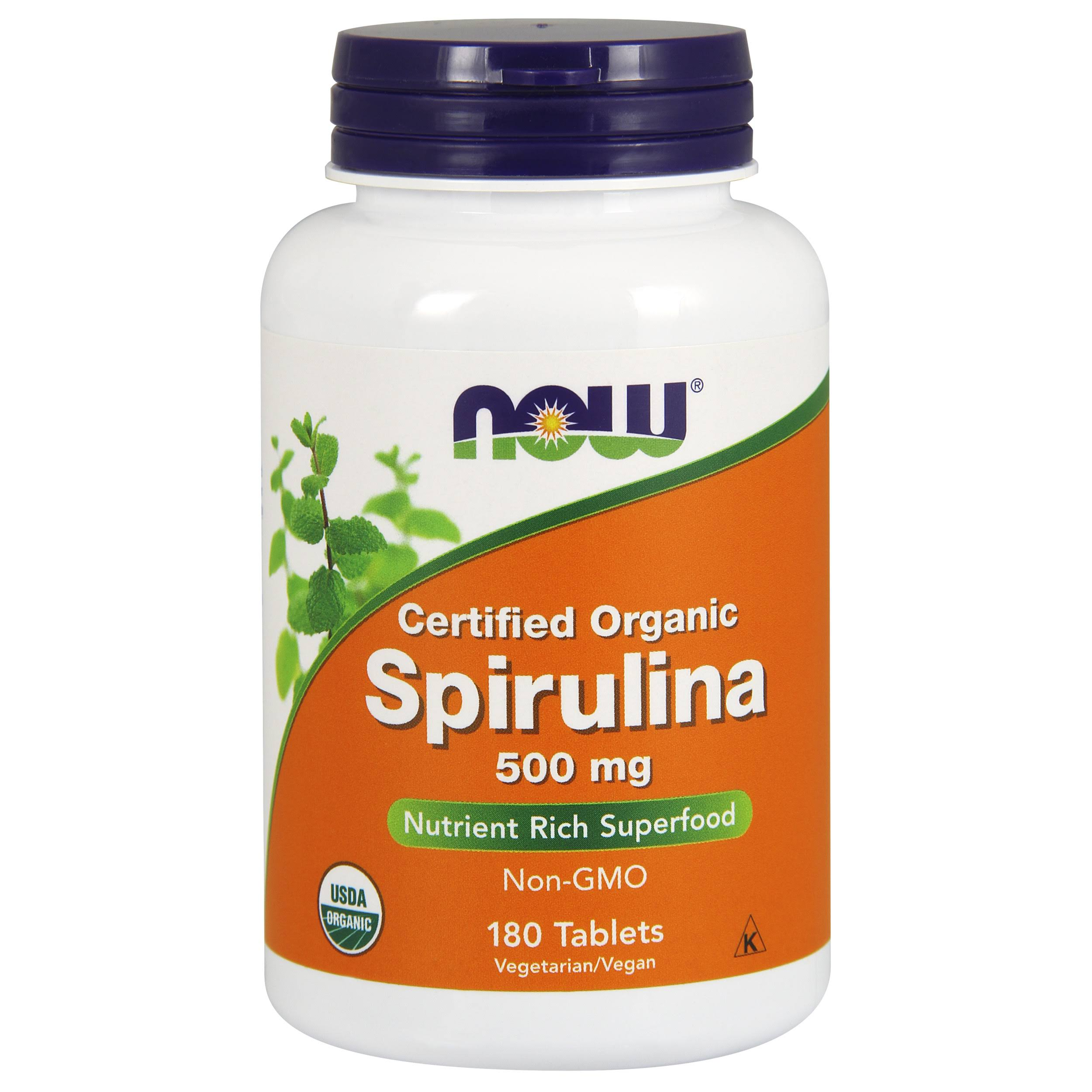 Now Foods Organic Spirulina Supplement - 180 Tablets