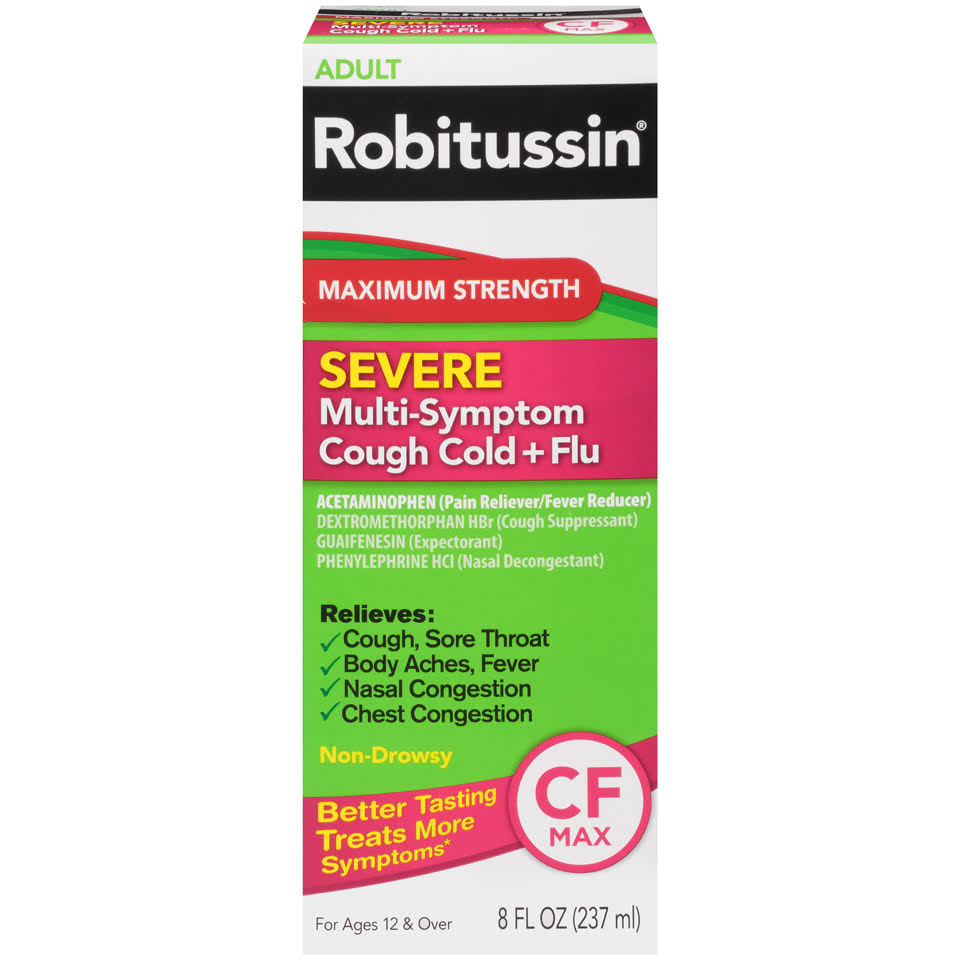 Robitussin Adult Severe Multi-Symptom Cough Cold + Flu Relief - Maximum Strength, 8oz