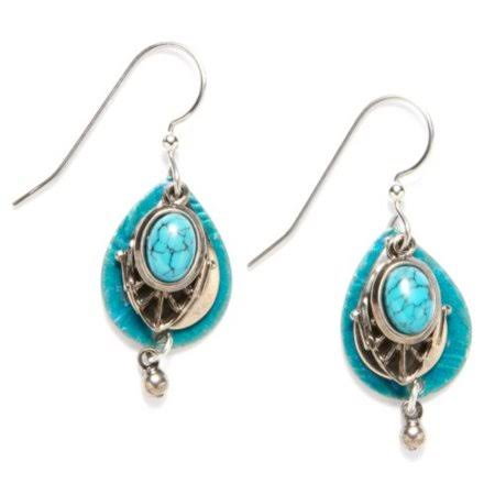 Silver Forest Teal Filigree Teardrop Earrings