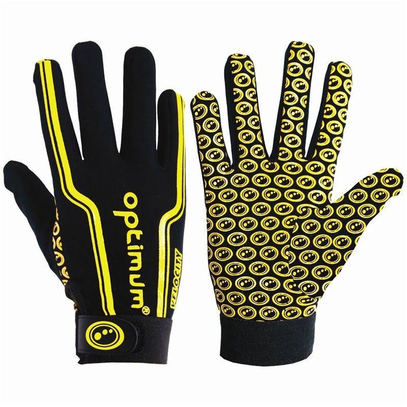 Optimum Boy's Velocity Full Finger Glove - Black/Yellow, Small