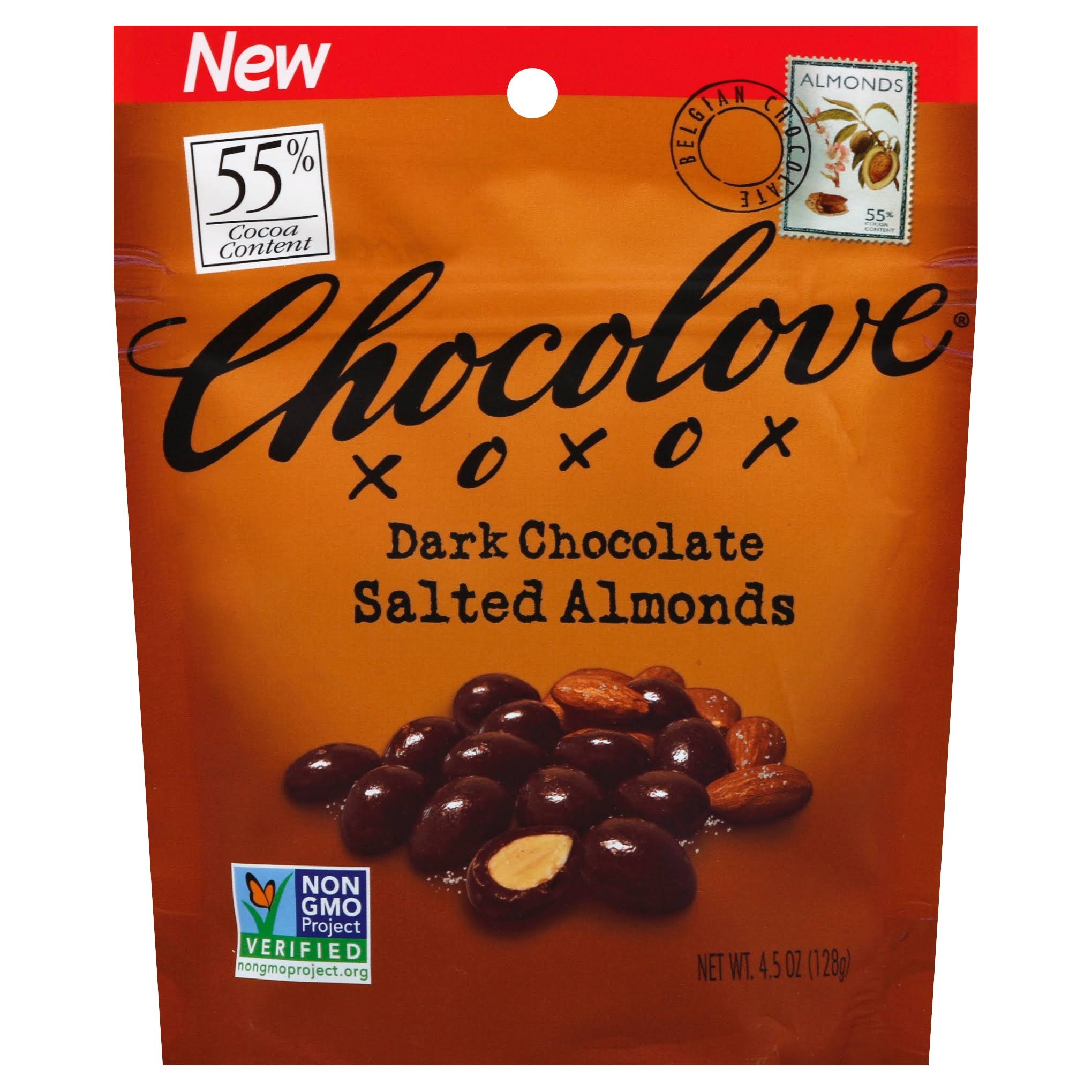 Chocolove 55 Cocoa Dark Chocolate Salted Almonds 4.5 oz.