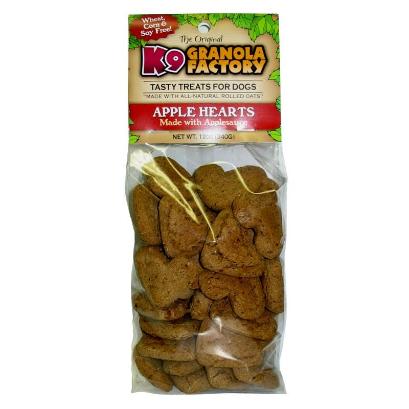 K9 Granola Factory Low Fat Apple Hearts with Applesauce Crunchers Dog Treats - 12oz