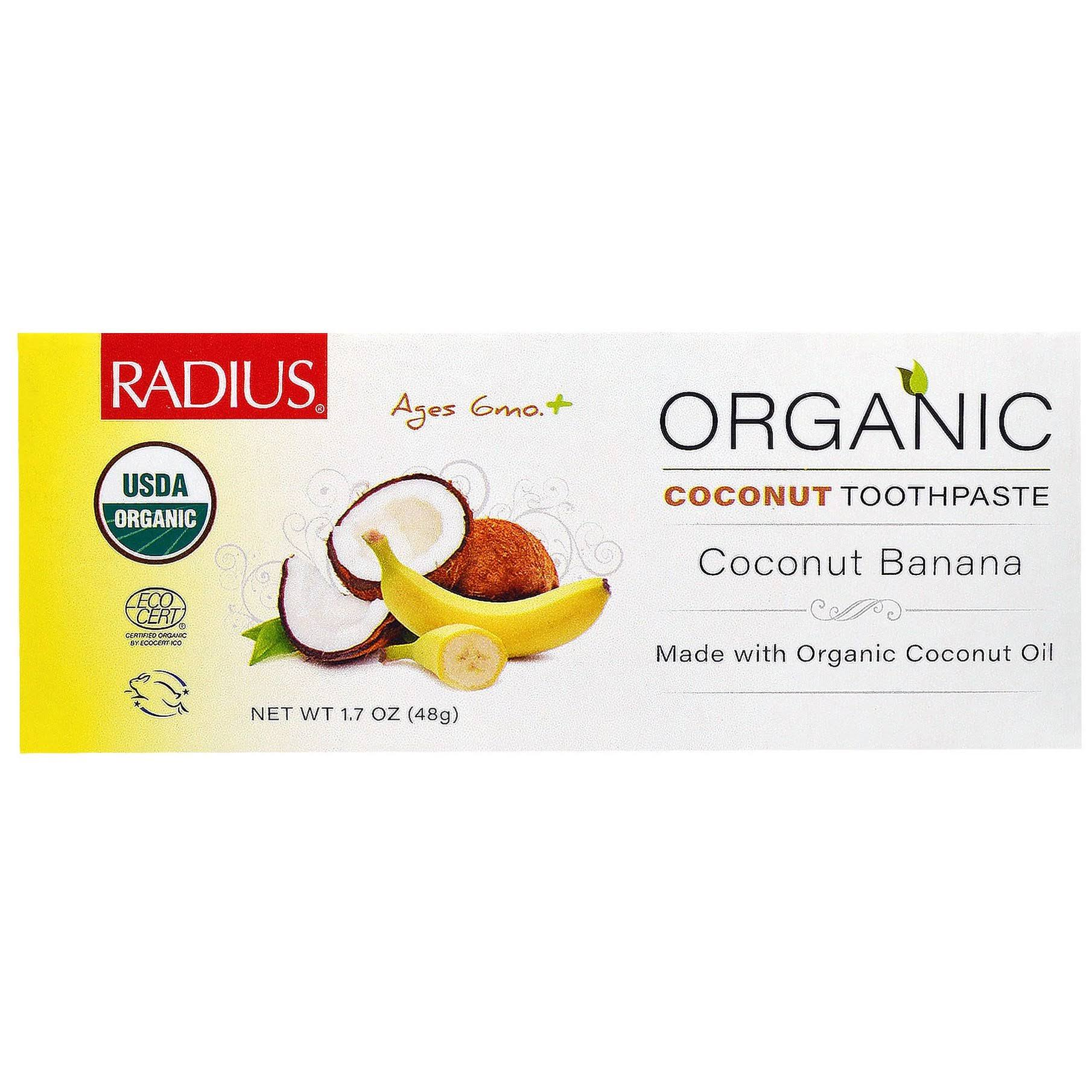 Radius Organic Children's Toothpaste - Coconut Oil and Banana, 1.7oz