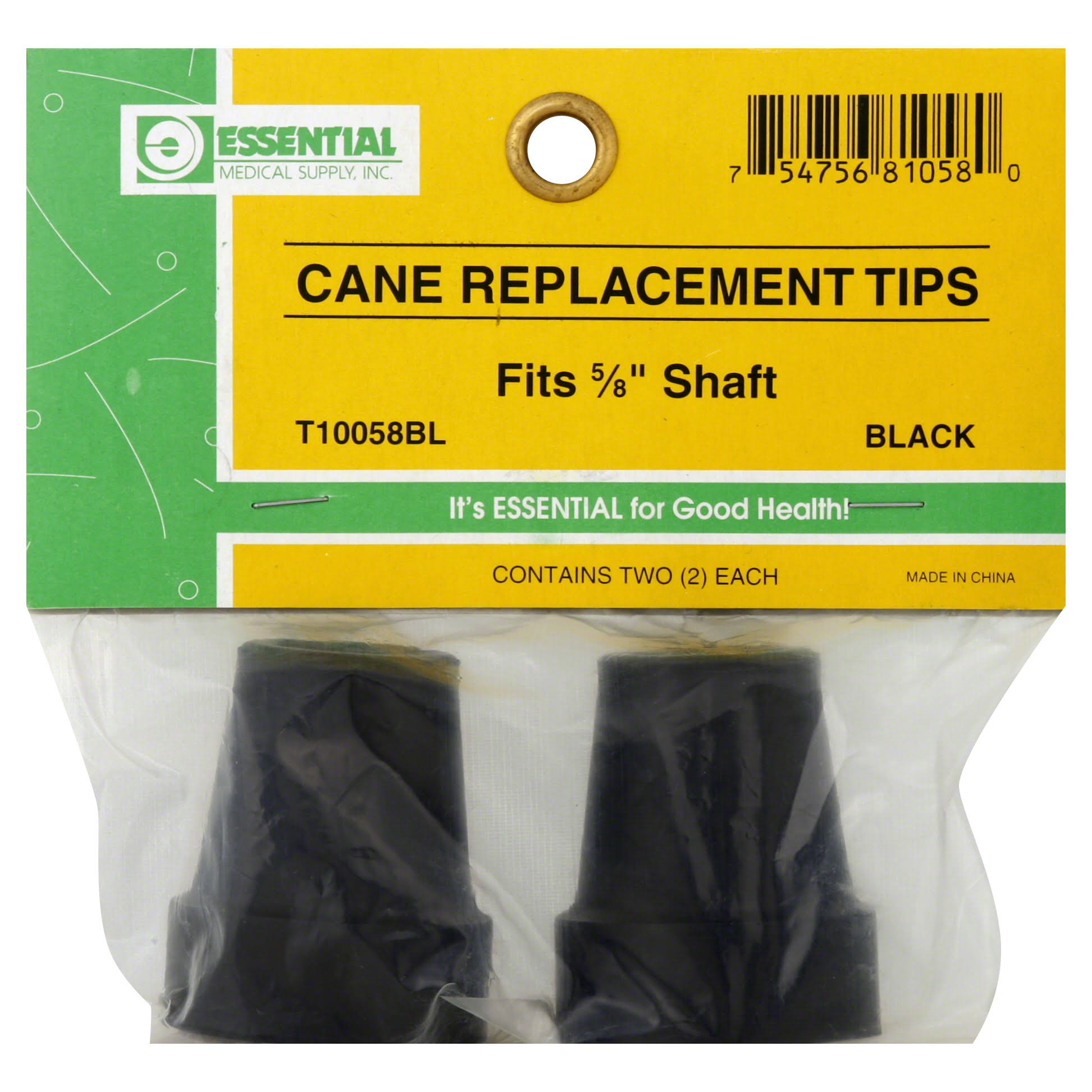 Essential Medical Supply Cane Tips - Black, 1.6cm