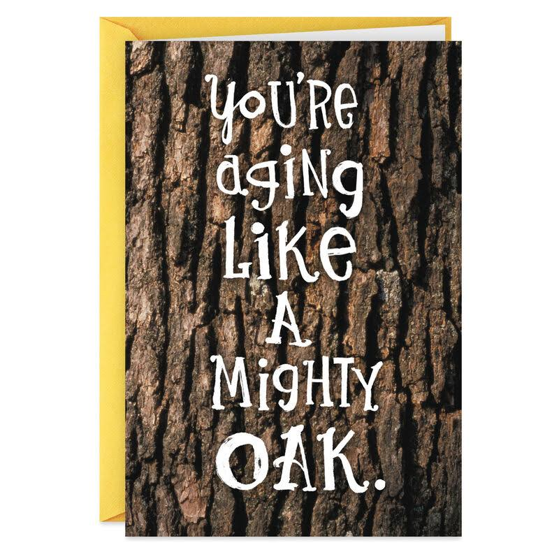 Oak Tree Losing Nuts Funny Birthday Card for Him