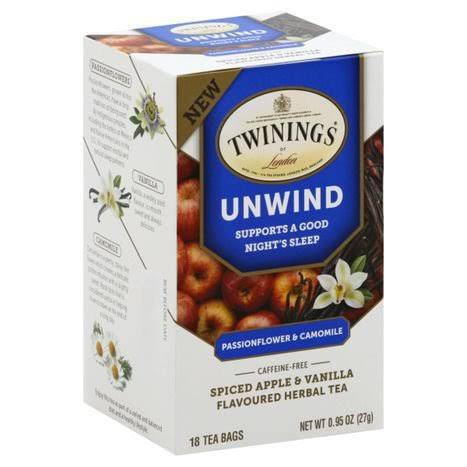 Twinings of London Unwind Herbal Tea - Spiced Apple & Vanilla, 18 Bags