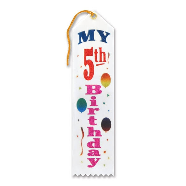 My 5th Birthday Award Ribbon - Pack of 6