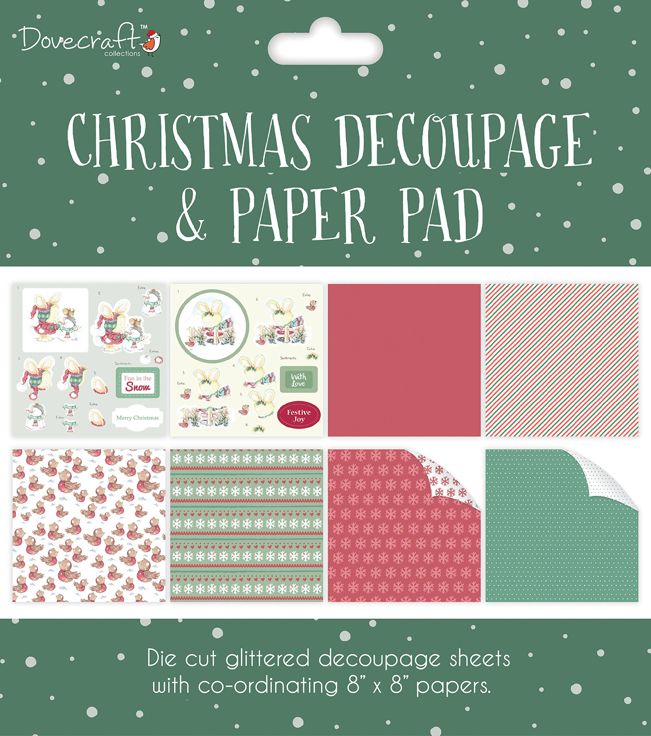 Dovecraft Christmas Decoupage Pad - Green