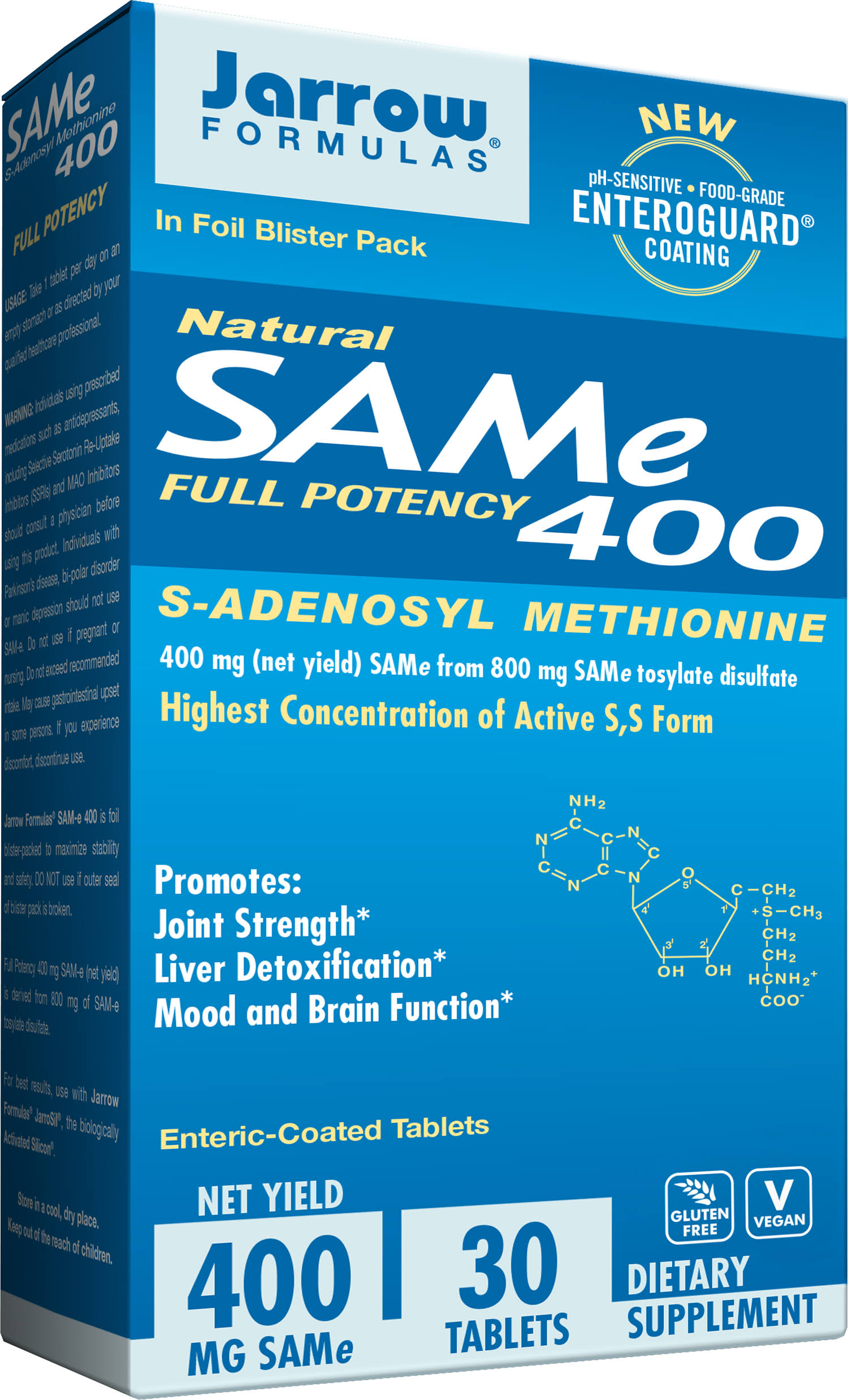 Jarrow Formulas Sam-e Full Potency 400 S-Adenosyl Methionine - 30 Tablets