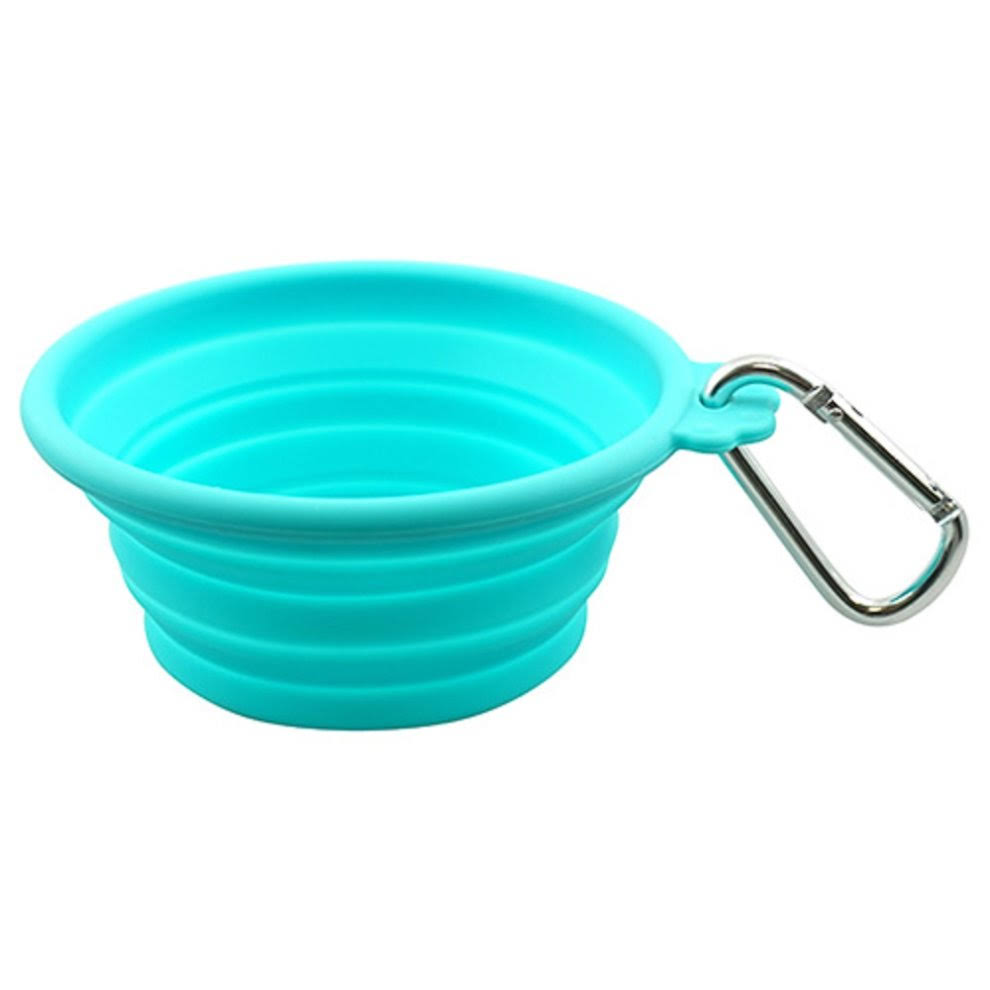 FFD Pet Silicone Collapsible Dog Travel Bowl - Teal - Small - 13 oz