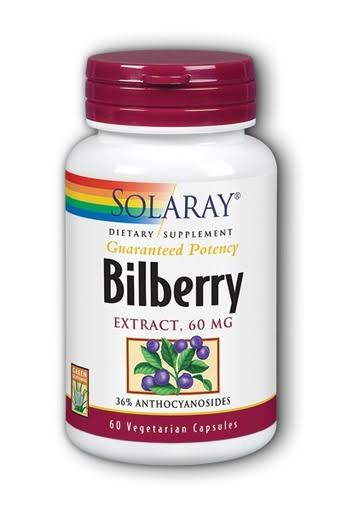 Solaray Bilberry Extract Supplement - 60 Vegetarian Capsules
