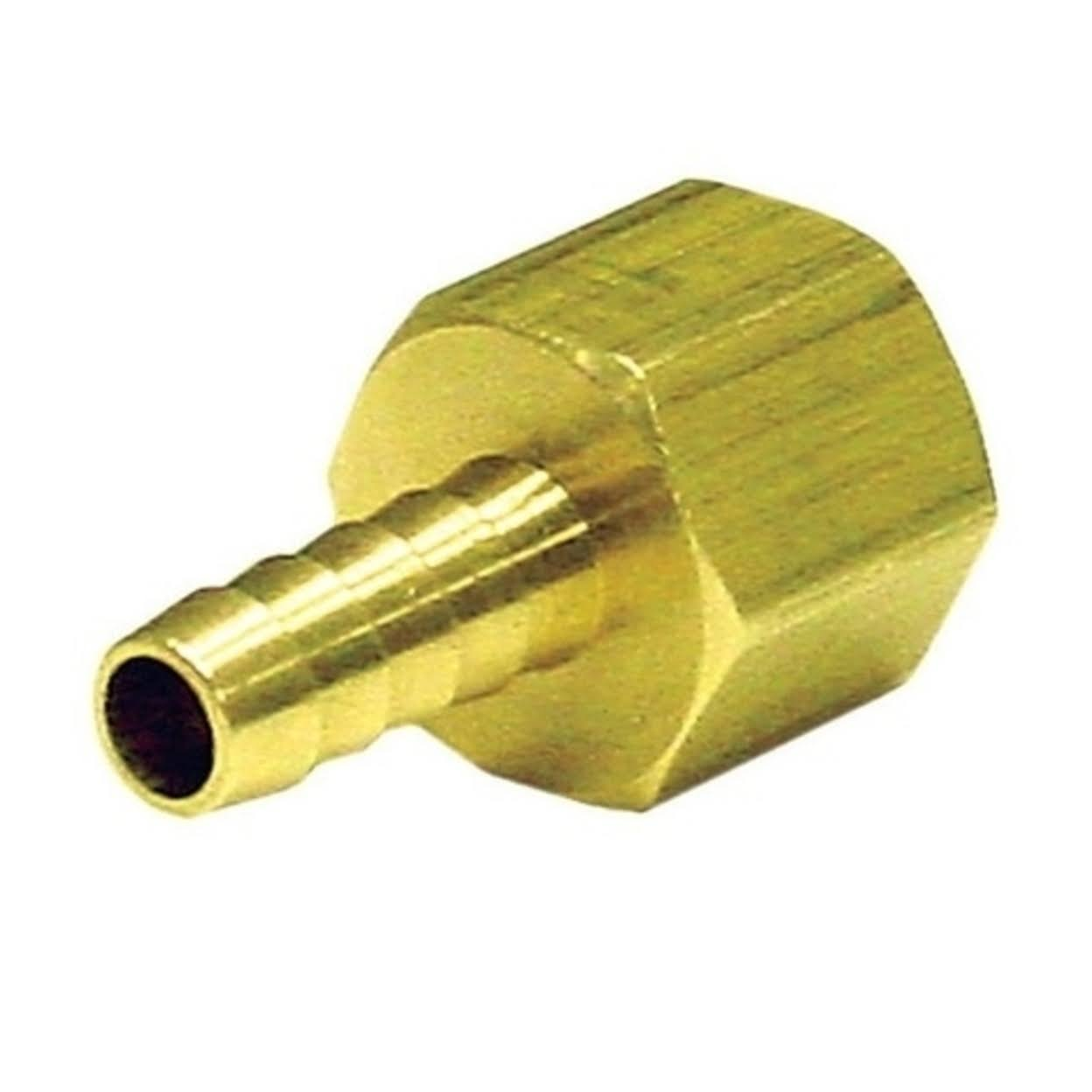 "JMF Lead Free Hose Barb - 1/2"" x 3/8"", Yellow Brass"