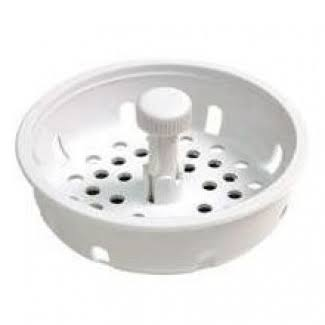 Danco Basket Strainer - With Stopper, White, 3-1/4""