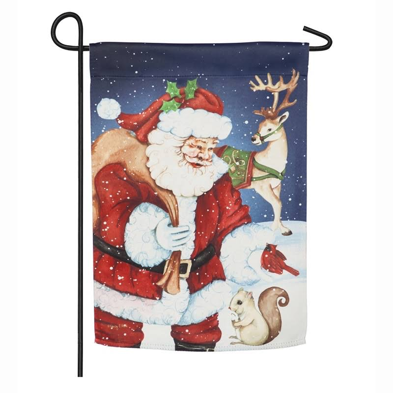Evergreen Santa and Friends Garden Suede Flag